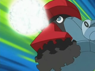 Probopass de Alan usando bomba imán. Genera una esfera plateada de poder magnético...