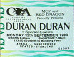 Ticket ebay collection Cardiff Arena, Cardiff, Wales duran duran