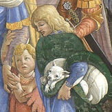 Botticelli Trials of Moses, detail boy with dog