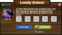 Diamond Ewe Lonely Animal Ask For Help