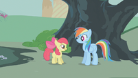 Apple Bloom thanking Rainbow Dash S01E12