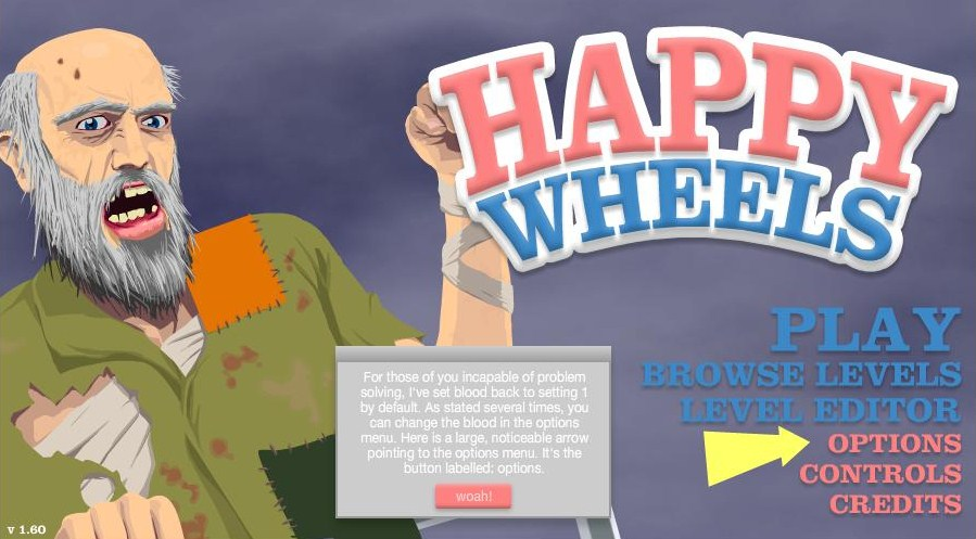 Happy Wheels Home Screen The Version Notice Note