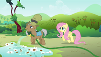 Mr. Greenhooves over watering Fluttershy&#39;s petunias S2E19
