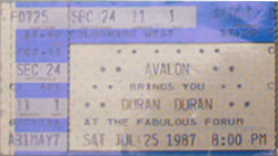 TICKET The Great Western Forum, Inglewood, Los Angeles, CA (USA) WIKIPEDIA DURAN DURAN