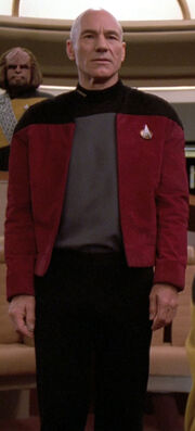 Jean-Luc Picard wearing captain&#39;s jacket