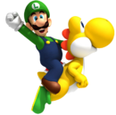 Yellow Yoshi and Luigi Artwork - New Super Mario Bros. Wii