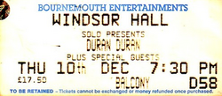 TICKET WINDSOR hall bournemouth wikipedia duran duran