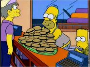 Homer and Bart in Krusty Burger