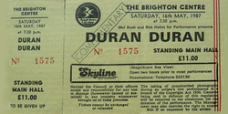 Ticket Duran Duran ticket from Brighton Centre 16th May 1987 wikipedia
