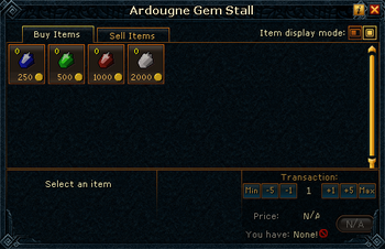 Ardougne Gem Stall stock
