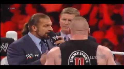 Brock Lesnar & Triple H Brawl Segment WWE RAW 4 30 2012 Triple H Returns!!