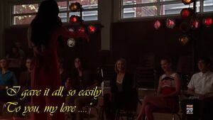Glee=3x16 - Santana Singing to Brittany -with Added Caption-