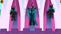 Chrysalis and changelings over Canterlot S02E26