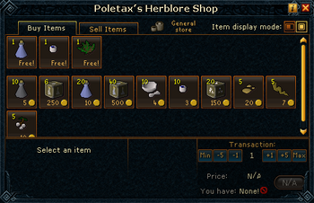 Poletax's Herblore Shop stock
