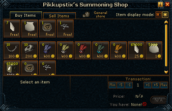 Pikkupstix&#39;s Summoning Shop stock