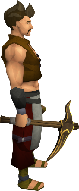 Gilded bronze pickaxe equipped