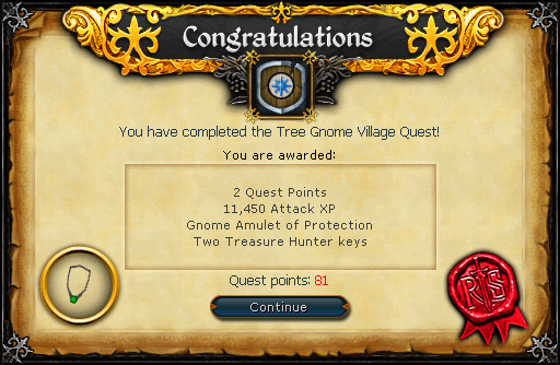 Tree Gnome Village reward scroll