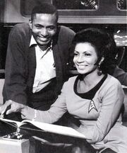 Charlie Washburn on set of TOS with Nichelle Nichols