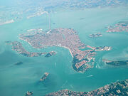 Venice as seen from the air with bridge to mainland