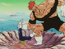Vegeta in the ground with Recoome
