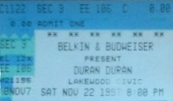 Lakewood Civic Auditorium, Lakewood (Cleveland), OH, USA WIKIPEDIA DURAN DURAN TICKET STUB