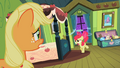 Applejack watching Apple Bloom shockingly S2E6.png