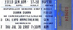 Cal Expo, Sacramento, California (USA) - 30 July 1987 wikipedia duran duran tour stub ticket