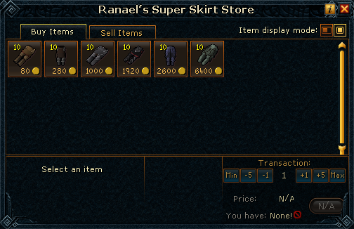 Ranael's Super Skirt Store stock