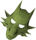 Green dragon mask detail