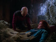 Picard and Crusher trapped underground