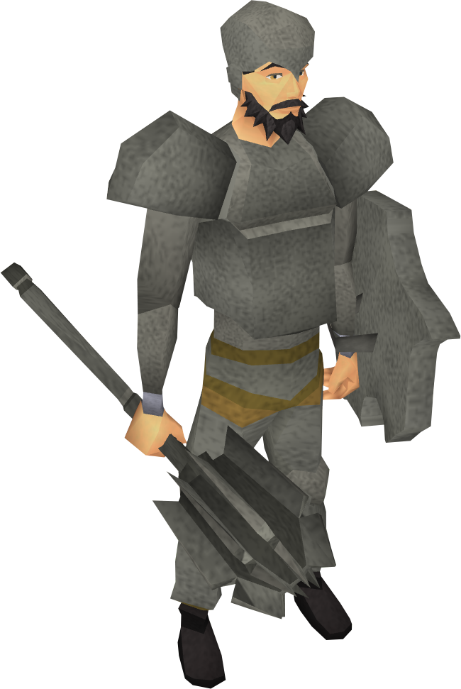 Granite mace equipped
