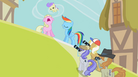 Rainbow Dash posing for photos S2E08
