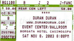 The Borgata Casino Event Centre, Atlantic City wikipedia ticket stub duran duran
