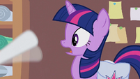 Rarity waving hoof in front of Twilight's face S1E14