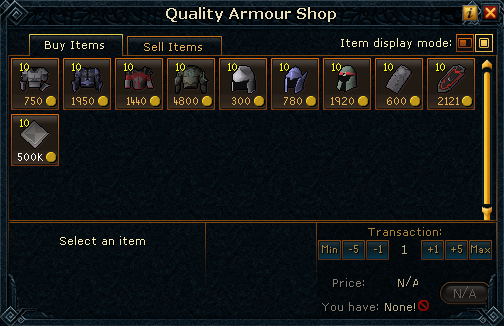 Quality Armour Shop stock