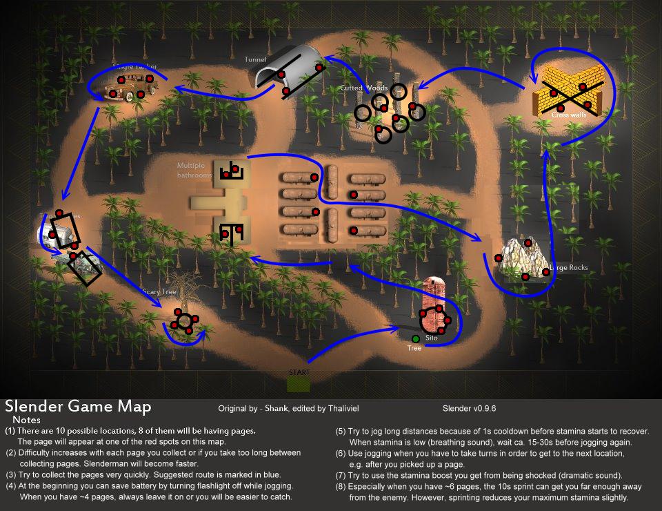 Mapa de Slender con localización de las notas  y consejos