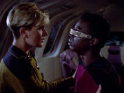 LaForge perspires