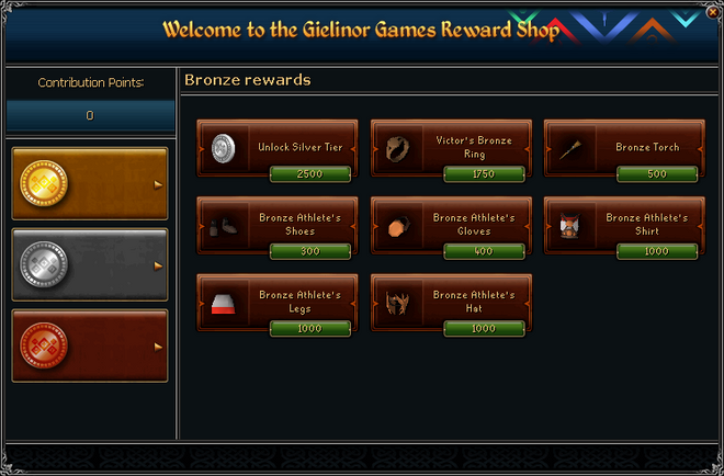 Gielinor Games Reward Shop (bronze) interface
