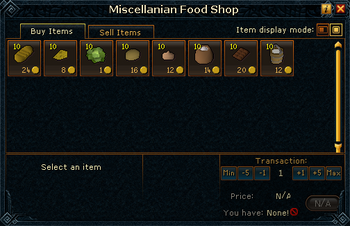 Miscellanian Food Shop stock