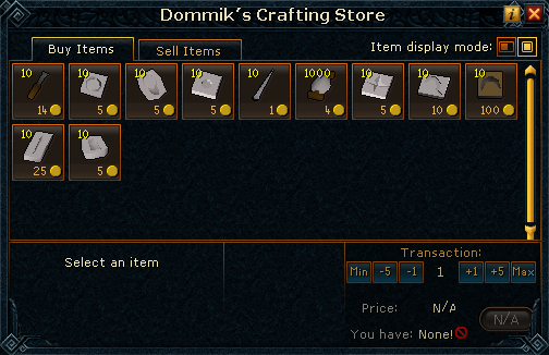 Dommik's Crafting Store stock