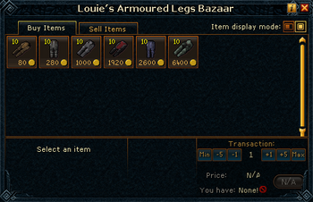 Louie's Armoured Legs Bazaar stock