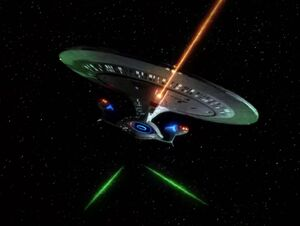USS Enterprise-D 2395, firing phasers