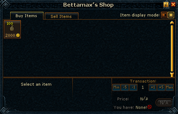 Bettamax's Shop stock