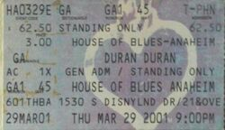 House of Blues, Anaheim, CA, USA wikipedia duran duran ticket stub 3