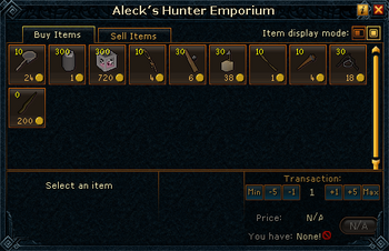 Aleck's Hunter Emporium stock