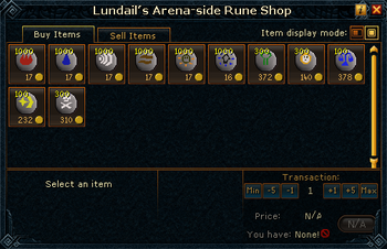 Lundail's Arena-side Rune Shop stock