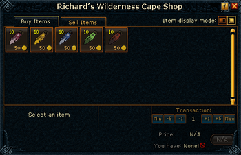 Richard's Wilderness Cape Shop stock