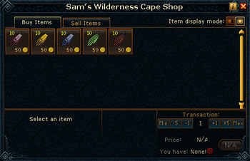 Sam's Wilderness Cape Shop stock