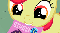 Apple Bloom holds a flyer S2E05