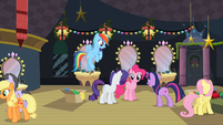 Twilight talking to Rainbow, Rarity and Pinkie backstage after play S2E11